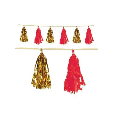 Red & Gold Metallic & Tissue Tassel Garland 2.4m x 25cm
