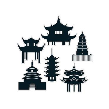 Pack of 6 Pagoda Silhouettes