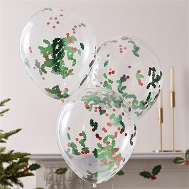 Christmas Holly & Berries Confetti Balloons