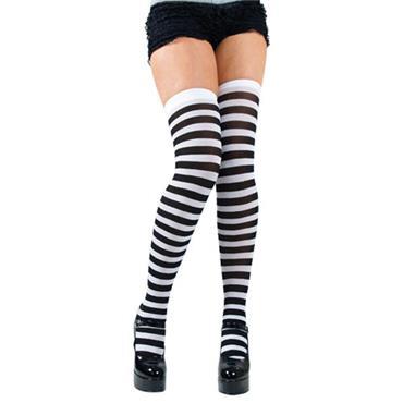 Black & White Candystripe Thigh Highs