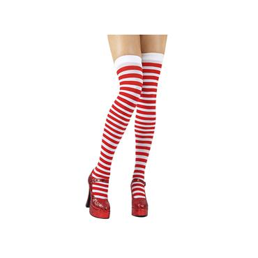 Red & White Candystripe Thigh Highs