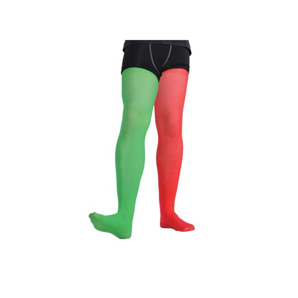 Red Green Candystripe Thigh Highs Stockings Halloween Christmas Elf Fancy Dress