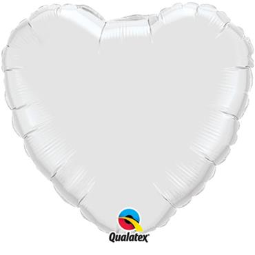 "White Heart Foil Balloon 18"""