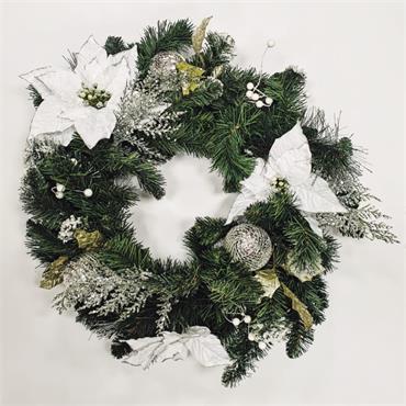 Traditional White Ponchiata Christmas Wreath - 55cm