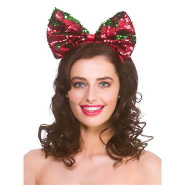 Xmas Sequin Bow On Headband