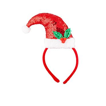 Sequin Santa Hat on Headband