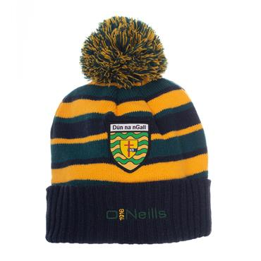 O'NEILLS DONEGAL BOBBLE HAT - NAVY/GREEN/AMBER