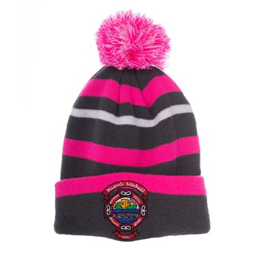 ST MICHAELS BOBBLE HAT - GREY/PINK