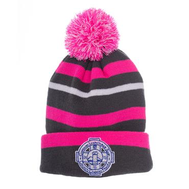 CLOUGHANEELY BOBBLE HAT - GREY/PINK