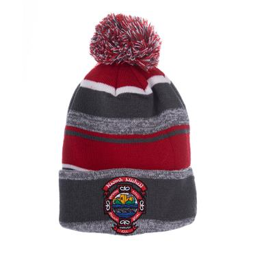 ST MICHAELS BOBBLE HAT - GREY/RED