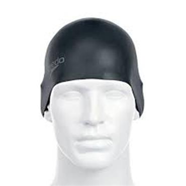 Speedo Plain Moulded Silicone Cap - BLACK