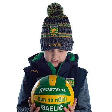 KIDS DONEGAL SOLAR 83 BOBBLE HAT - MARINE/EMERALD/AMBER