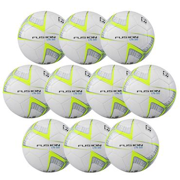 Precision Fusion Lite 320G Football | (Age U9-U11) | Pack of 10 and FREE Bag - White/Yellow
