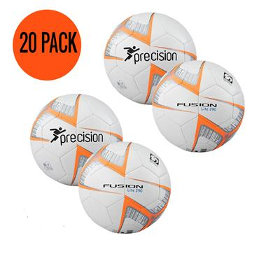 Precison Fusion Lite 290G Football | (Age U6-U8) | Pack of 20 and FREE Bag - White/Orange