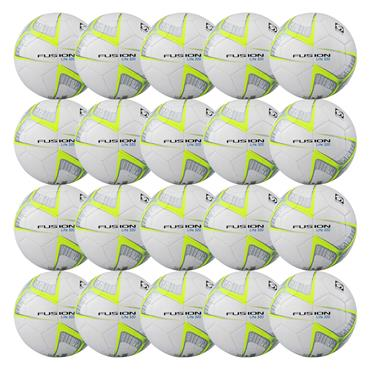 Fusion Lite 320G Football | (Age U9-U11) | Pack of 20 and FREE Bag - White/Yellow