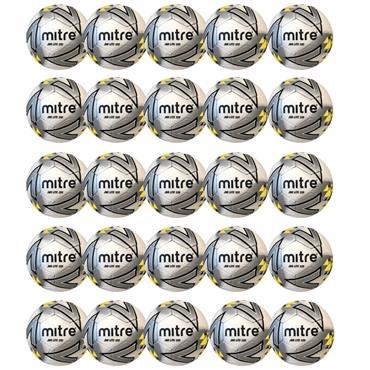 Mitre Junior Lite 320G Football | (Age U9-U11) | Pack of 20 - White/Yellow