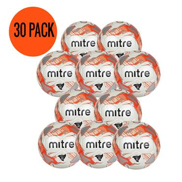 Mitre Junior Lite 290G Football | (Age U6-U8) | Pack of 30 and FREE Bag - White/Orange