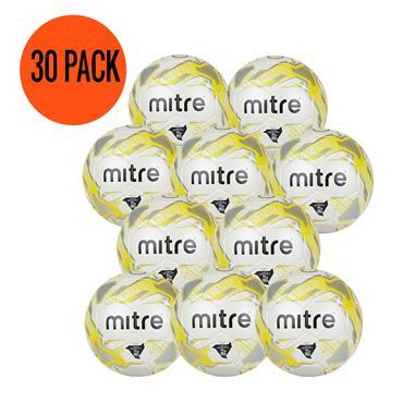 Mitre Junior Lite 320G Football   (Age U9-U11)   Pack of 30 and FREE Bag - White/Yellow
