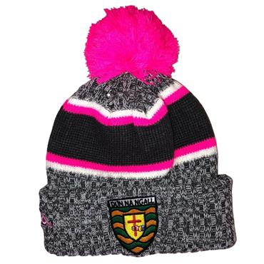 Official Donegal Merchandise Donegal GAA Ladies Bobble Hat - Pink/Grey
