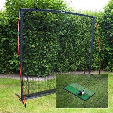 Precision Golf Practice Net and 2 and 1 Launch Pad - BLACK