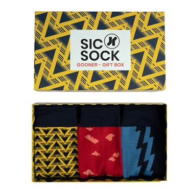 SIC SOCK GOONER FAN ARSENAL MENS SOCKS GIFT BOX (UK 7-11) - Multi