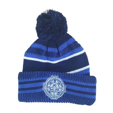 Cloughaneely Adults Bobble Hat - Navy/Royal/White