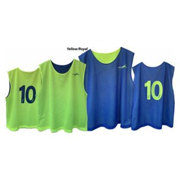 Lee Sports Junior Reversible Numbered Bibs 1-20 - Royal/Yellow