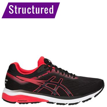 ASICS MENS GT 1000 7 RUNNING SHOE - BLACK/RED