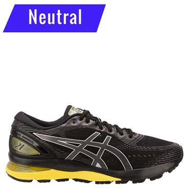 ASICS Mens Gel Nimbus 21 Running Shoe - Black/Yellow