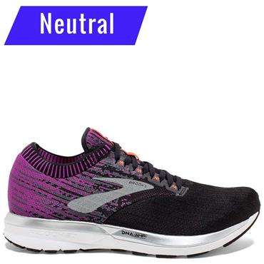 BROOKS WOMENS RICOCHET RUNNING SHOES - BLACK/PURPLE