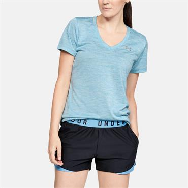 Under Armour Womens Tech Twist V Neck T-Shirt - Blue
