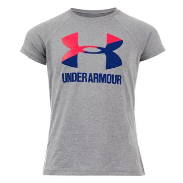 UNDER ARMOUR GIRLS SOLID LOGO T-SHIRT - GREY
