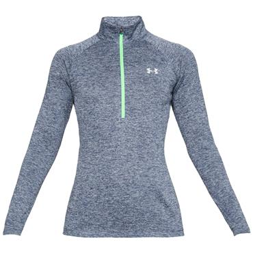 UNDER ARMOUR WOMENS TECH TWIST HZ TOP - BLUE