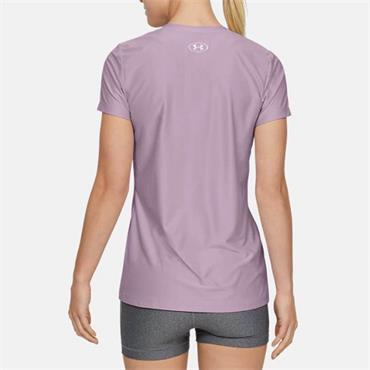 Under Armour Womens Tech Short Sleeve V-Neck T-Shirt - Purple