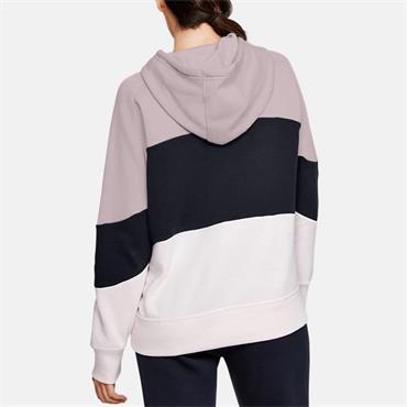 Under Armour Womens Rival Fleece Colour Bock Hoodie - Pink/Black