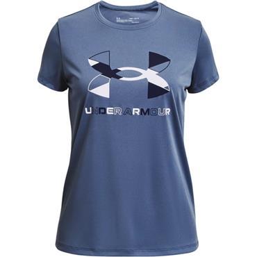Under Armour Girls Big Logo Graphic T-Shirt - BLUE
