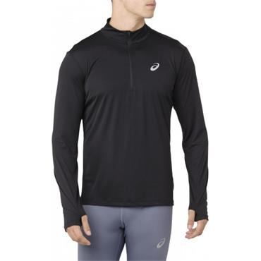 Asics Men's Silver LS Half Zip Top - BLACK