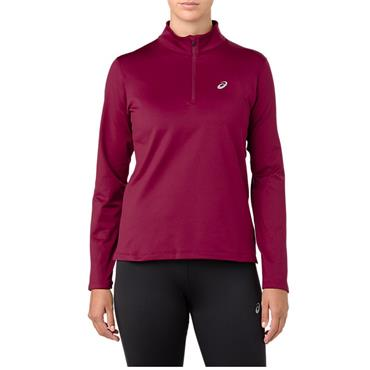 ASICS WOMENS SILVER LS HALF ZIP TOP - RED