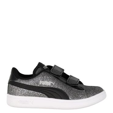 PUMA Girls Smash V2 Glitz Glam Trainer - Black/Silver