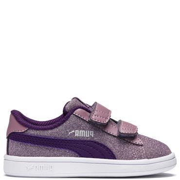 PUMA Girls Smash V2 Glitz Glam Trainer - Purple