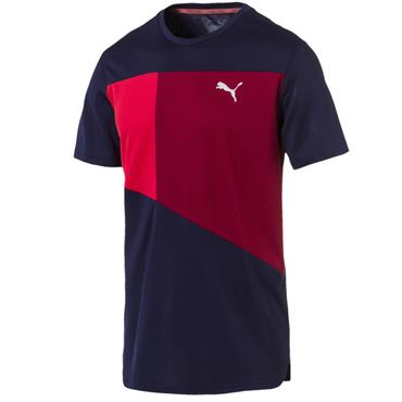 PUMA Mens Run Short Sleeve T-Shirt - Navy/Red