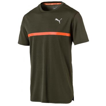 PUMA Mens Run Graphic T-Shirt - Green/Orange