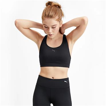 PUMA Womens 4 Keeps Mid Impact Sports Bra - BLACK