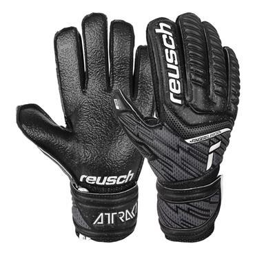 Reusch Junior Attrakt Infinity Finger Support Gloves - BLACK
