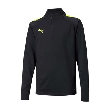 PUMA KIDS TEAM LIGA 25 1/4 ZIP TOP - BLACK