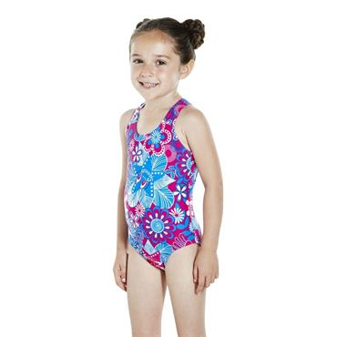 Speedo Girls Fantasy Swimsuit - Pink Mulit