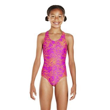 Speedo Girls Boom All Over Swimsuit - Pink/Orange