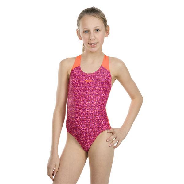 Regeneración bolita Pantano  Speedo Girls Swimsuit - Purple/Orange   Michael Murphy Sports   Donegal    ireland