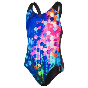 Speedo Girls Spashback Swimsuit - Black/Blue