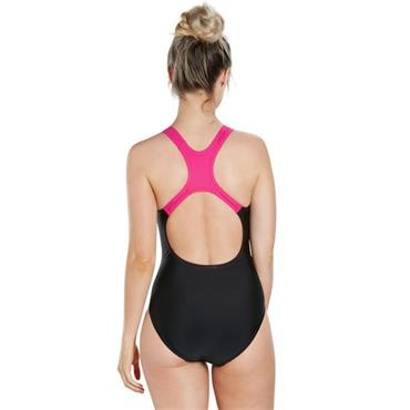 Speedo Womens Logog Medalist Swimsuit - Black/Pink